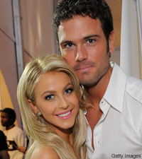 "Country couple, Julianne Hough and Chuck Wicks, dance together on ""Dancing with the Stars."""