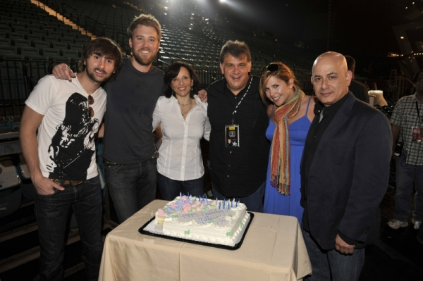 Hillary Scott of Lady Antebellum celebrates her birthday at a rehearsal for the ACM Awards.