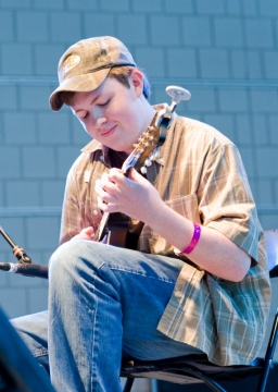 Bryan McDowell of Canton, North Carolina won first place in the mandolin contest for MerleFest 2009